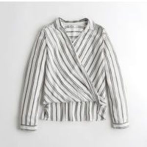 {Hollister} white wrap front shirt